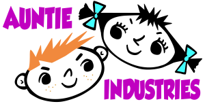 Auntie Industries Logo freckles whi bg